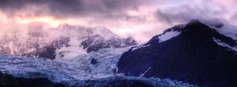 ,горы,ледник,облака,