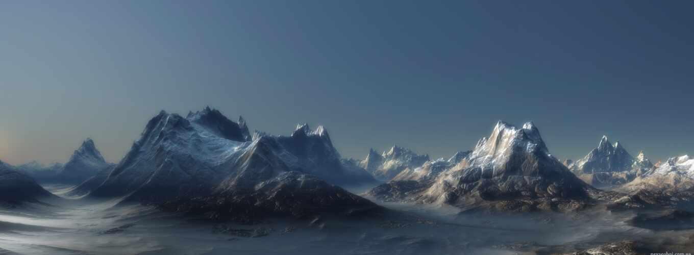 dual, горы, экран, множество, cover, скалы, art,