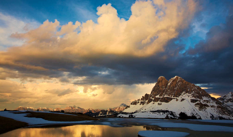 горы, закат, облака, fiction, non, подборка, экрана, iphone, небо, снег,