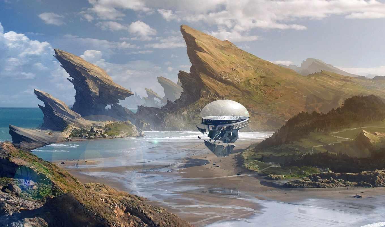 фантастика, количество, красивые, sci, небо, art, мб, будущее,