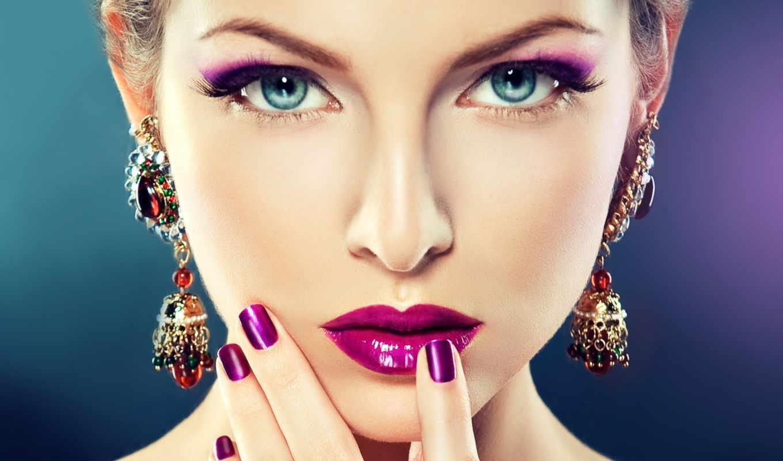 макияж, голубоглазая, лицо, девушка, взгляд,