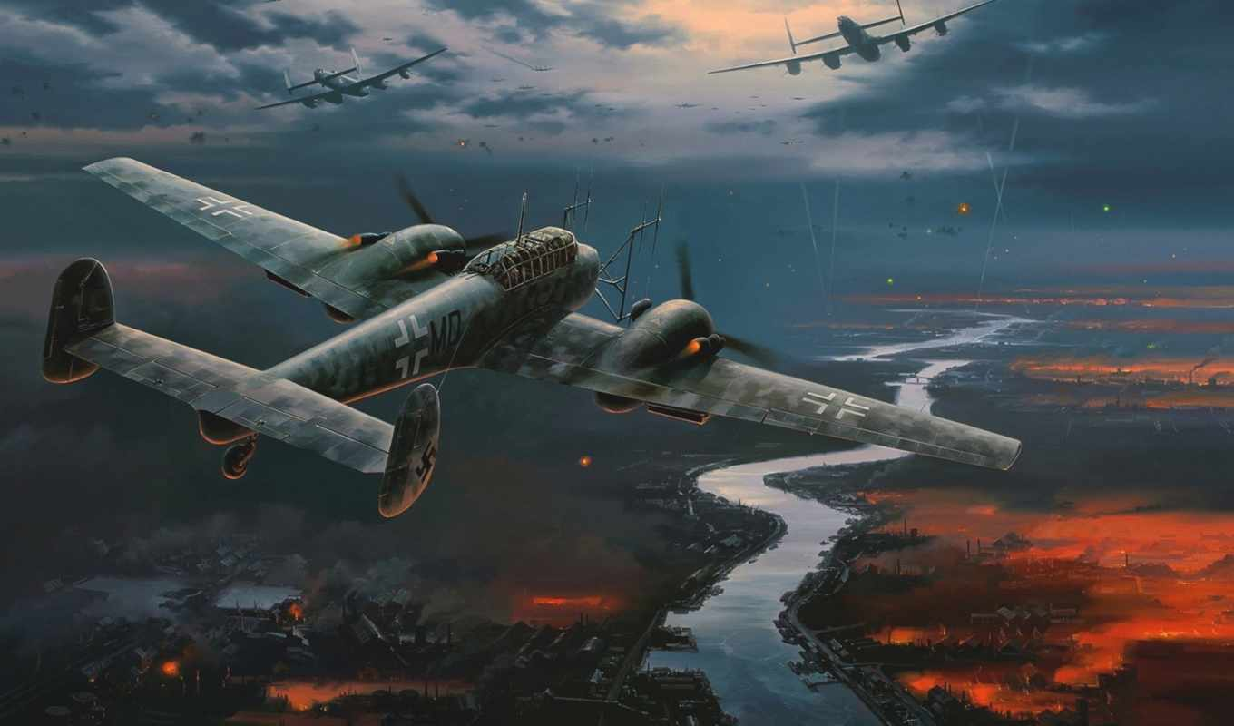 самолёт, world, second, luftwaffe, рисунок, guo, war, мессершмитт, giap,