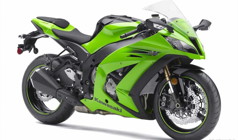 мотоциклы, kawasaki, зелёный,