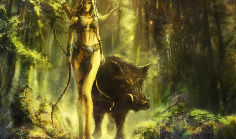 арт, лес, кабан, девушка, лук, cyrilbarreaux, картинка,