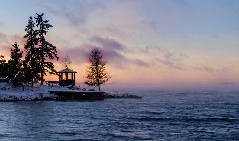 рассвет, туман, залив, зима, швеция, new, day, картинка,