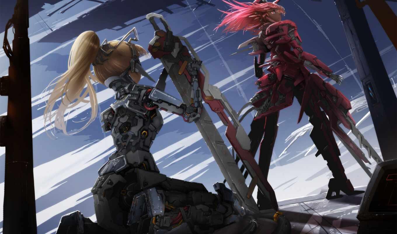 меха, металл, оружие, робот, девушка, меч, арт,