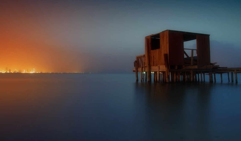ночь, landscape, море, smooth,