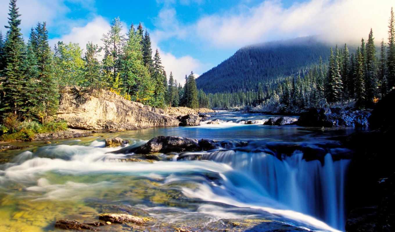 горы, река,лес,небо,водопад, пейзаж,