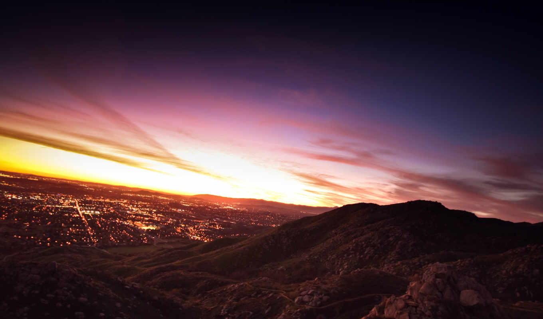 sunset, city, over, wallpaper,