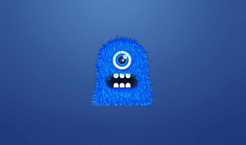 монстр, синий, мохнатый, одноглазый, чудик, зубастый, картинка,