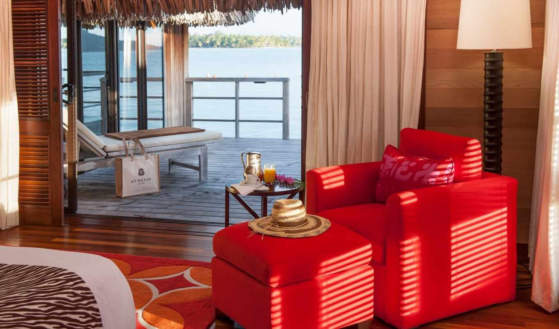 bora, water, бунгало, океан, интерьер, hotel,