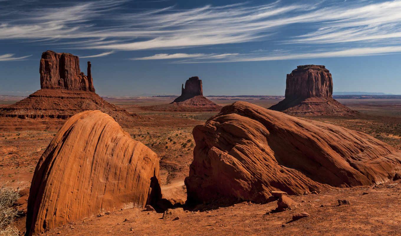 пустыня, скалы, небо, долина, oblaka, монументов,