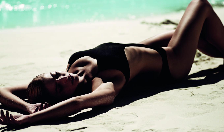 песок, рисунок, девушка, sun, купальник, пляж, models,