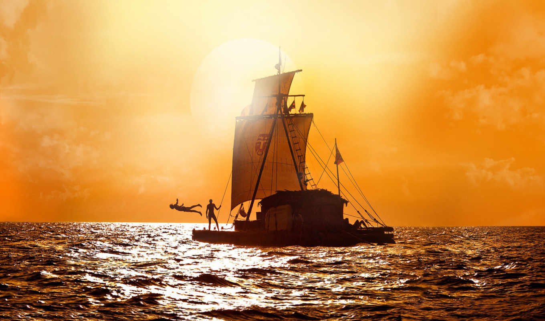 barco, сол, parede, papel, pôr, аоь, мар, para, ud, cielo,