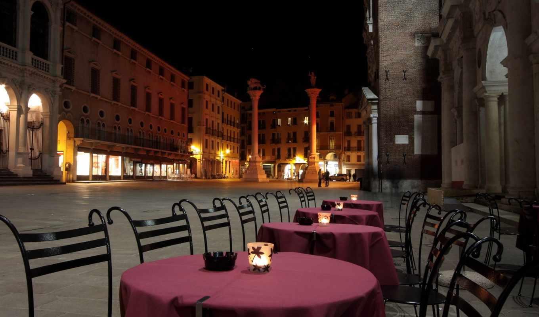кафе, столики, стулья, вечер, город, цветы, зонтики, красивые, ресторан, фоны, ocean,