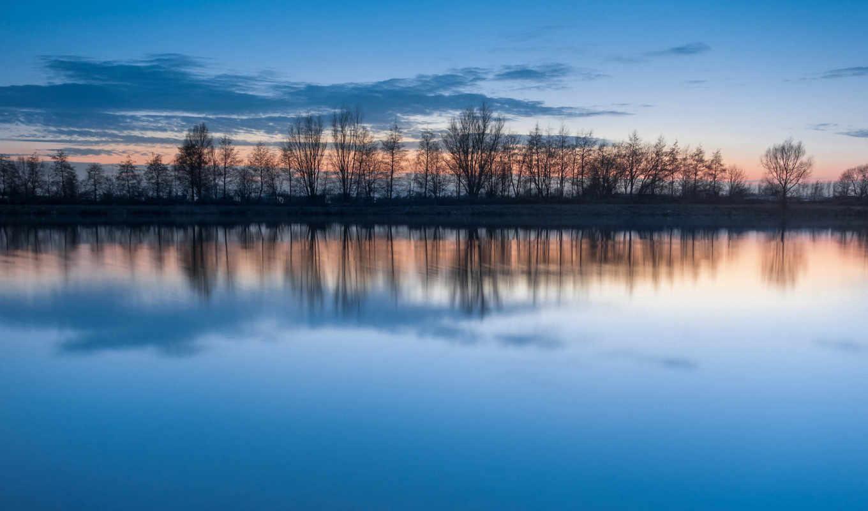 water, отражение, небо, clouds, озеро, blue, гладь, trees, закат,