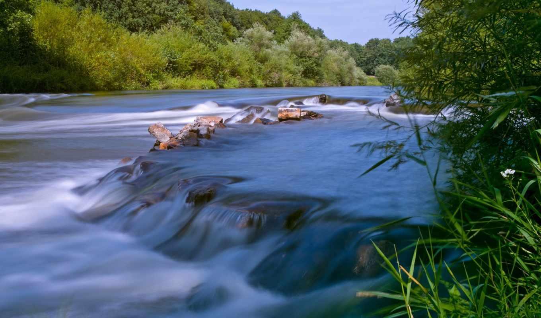 reki, waters, спокойные, горной, мин, реку, сквозь, мост, pulpit,
