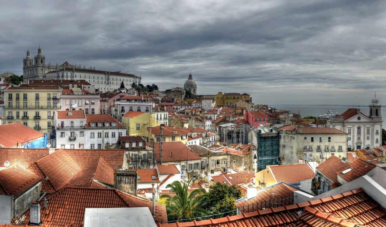 lisbon, город, португалия, build, building