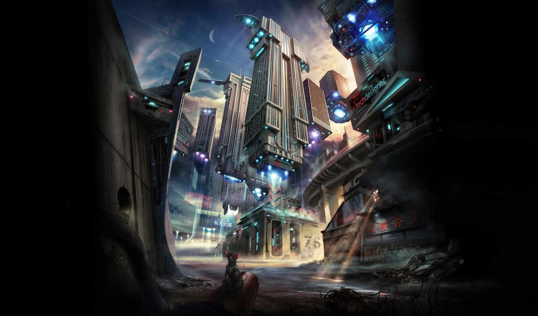 future, город, здания, луч, корабли, свет, парение, buildings, flying, картинка,