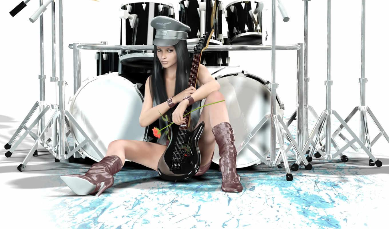барабаны, разное, девушка, гитара, стиль,