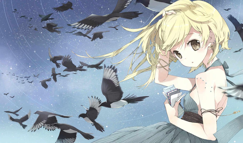 anime, девушка, ветер, птицы,