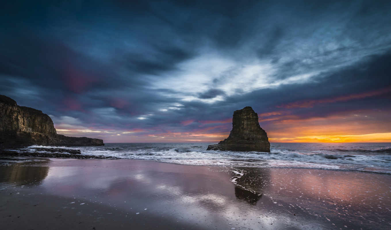 берег, вечер, море, закат, скалы, ocean, небо, скалы, usa, картинка,