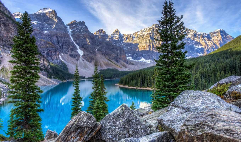горы, landscape, озеро, взгляд, деревя,