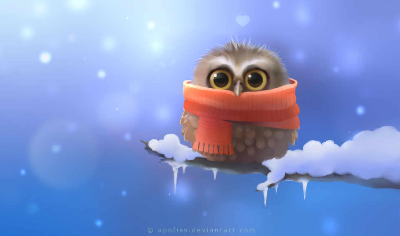 сова, совёнок, птица, zhivotnye, branch, красивые, совушка, белки, winter, сипуха, снег,