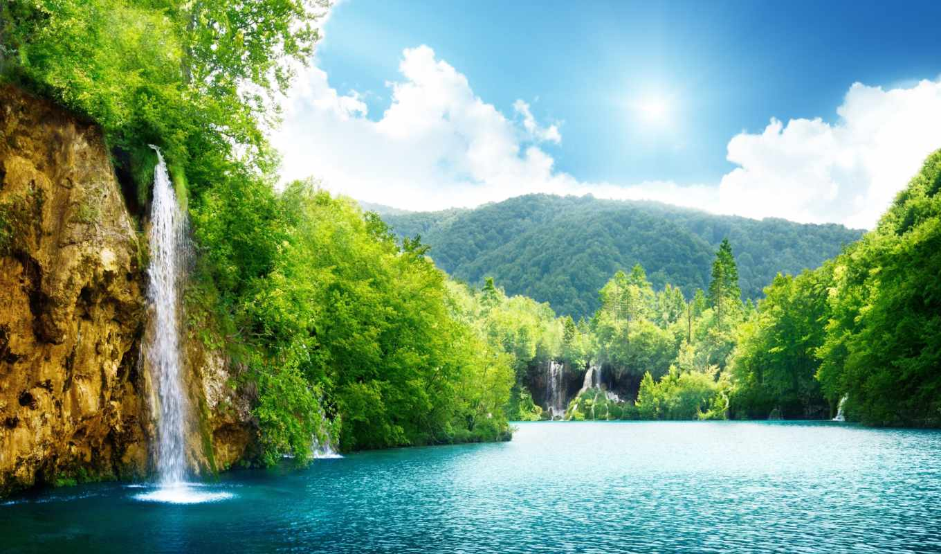 nature, deep, forest, desktop, sunlight, landscape, sea, clouds, trees, sky, lake, , background, download,