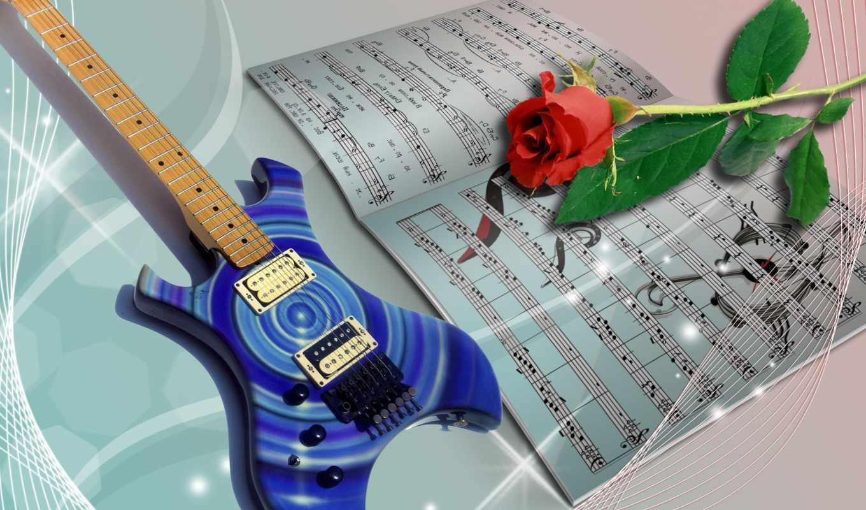 ноты, роза, guitar, flower, sheet, electric, book, нотная,