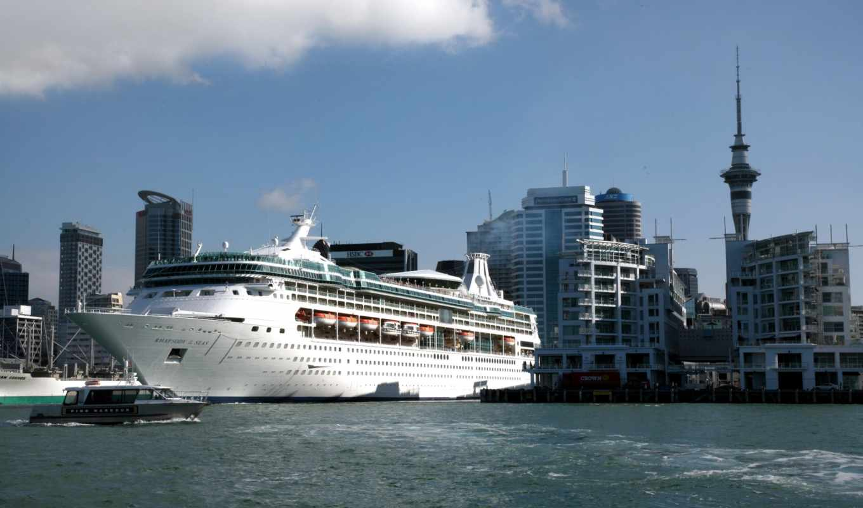 корабли, auckland, порт, cruise, zealand, лайнер, new,