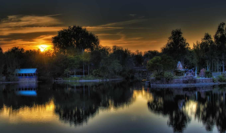 закат, озеро, coucher, soleil, random, animal, изображение, animals,