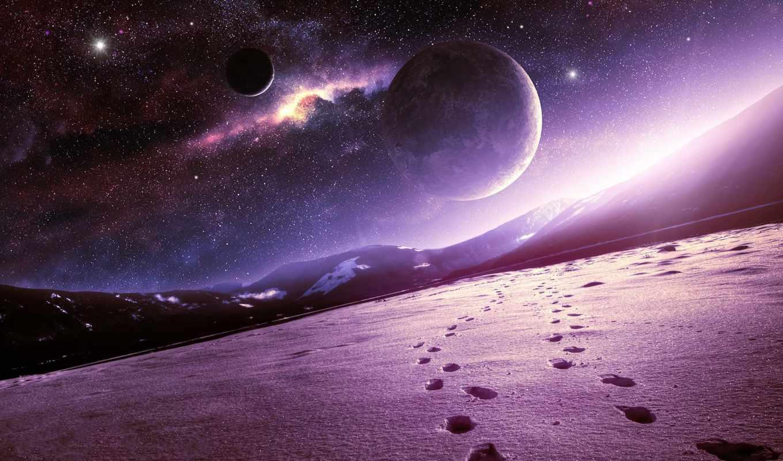 kosmos, планеты, горы, art, qauz, снег,