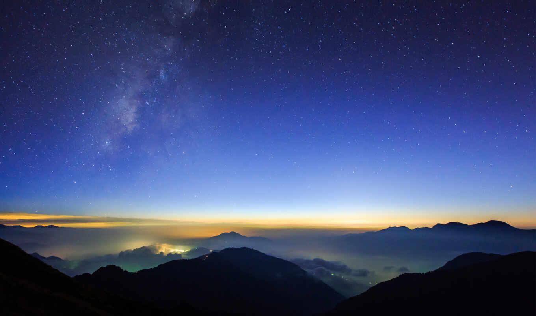звездное, небо, огни,