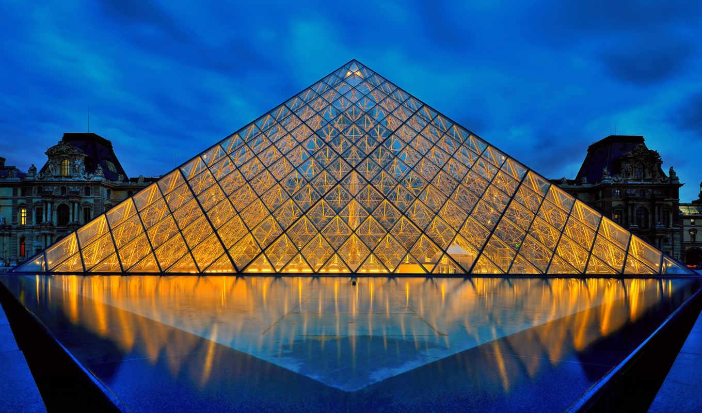 louvre, париж, франция, museum, пирамида, город,