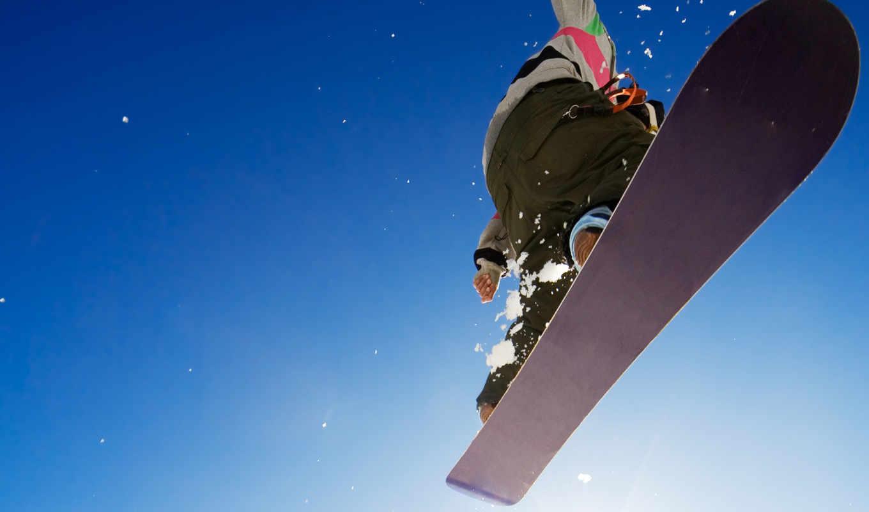 зима, спорт, парень, сноуборд, картинка, экстрим, прыжок, небо, адреналин,