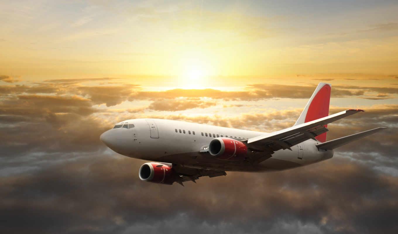 самолёт, небо, солнце, закат,