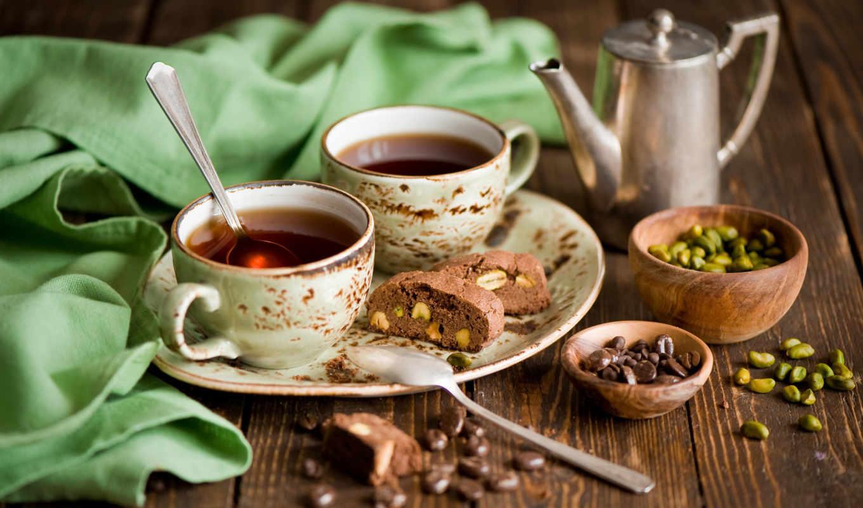coffee, зерна, чашки, ложки, chocolate, фисташки, губка,
