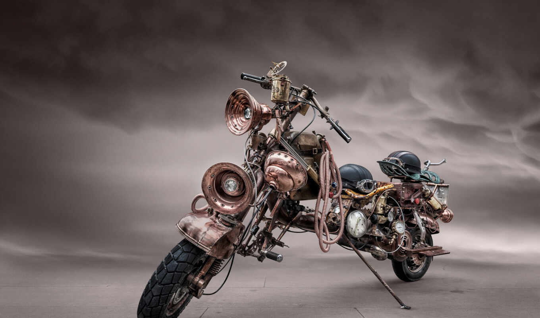 мотоцикл, chopper, bike, steampunk