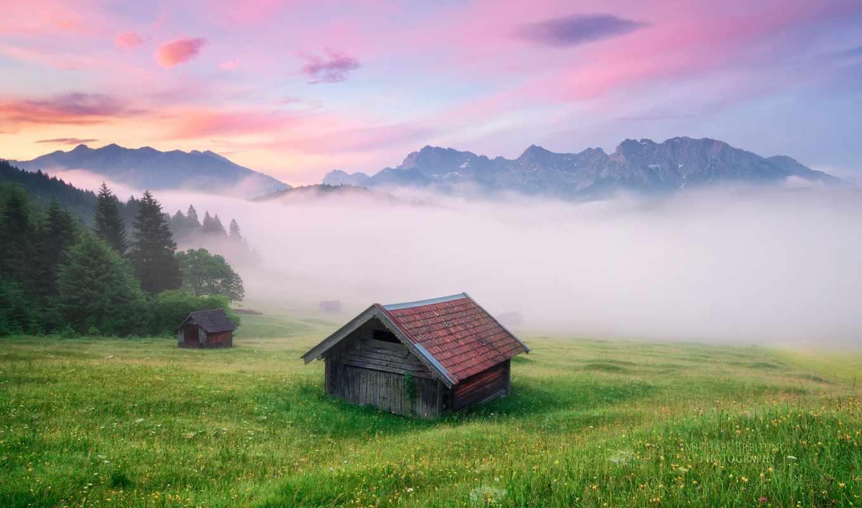germany, meadow, alps, туман, бавария, озере, крюн, desktop, lake, download,