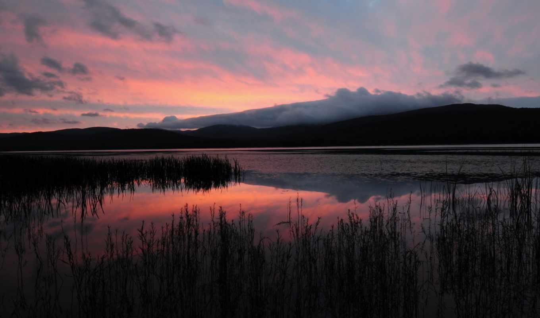 вечер, озеро, горы, закат, картинка,