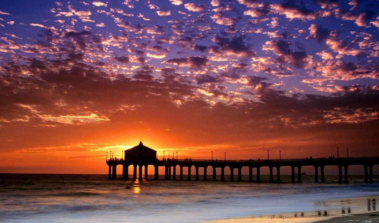 пляж, закат, free, desktop, manhattan,