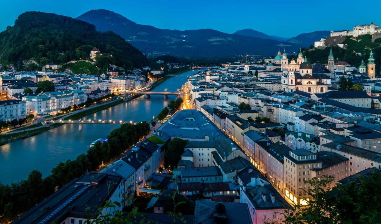 salzburg, austrian, город, дома, вечер, munich, здания, компьютер,