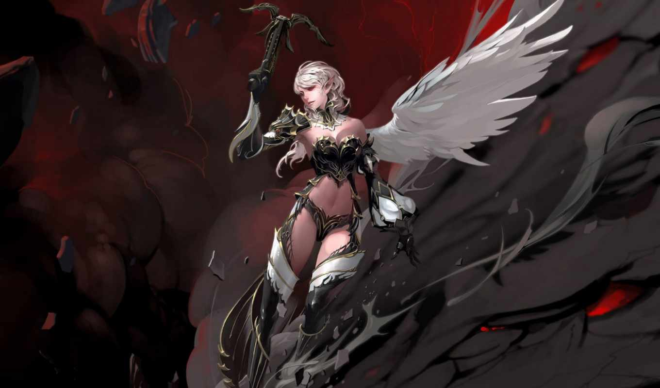 lineage, devil, игры, throne, фэнтези, game, girl,