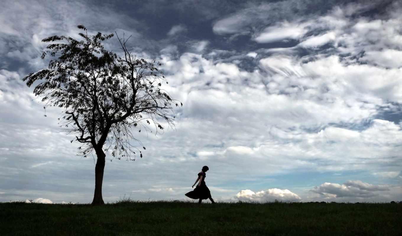 небо, дерево, поле, девушка,
