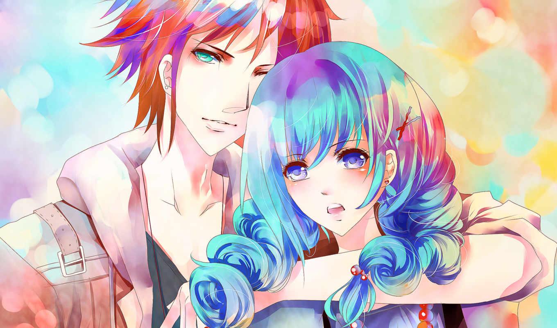 anime, девушка, парень, art, синие, волосы, ame, aiki, пара, картинка,