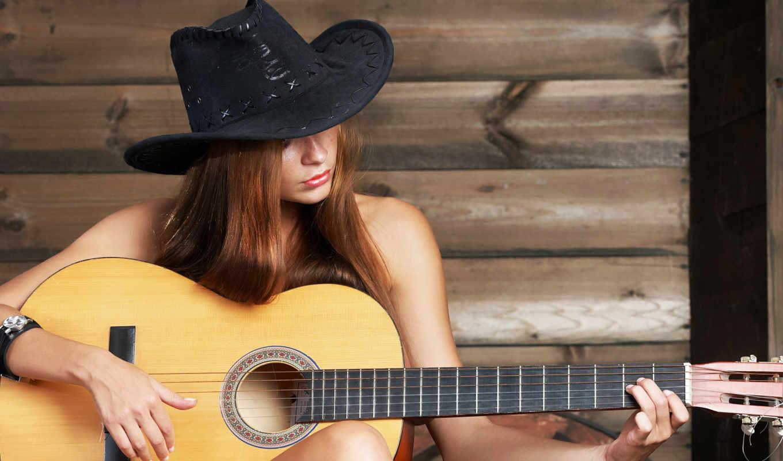 музыка, девушка, гитара, шляпа,