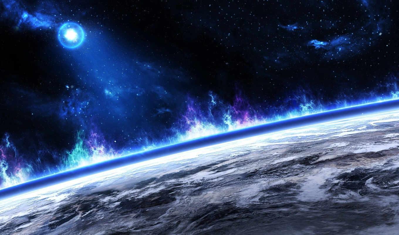 небо, planet, гладь, горизонт, космос,