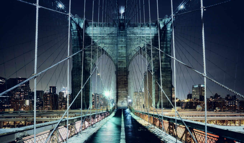 бруклин, мост, york, new, город,