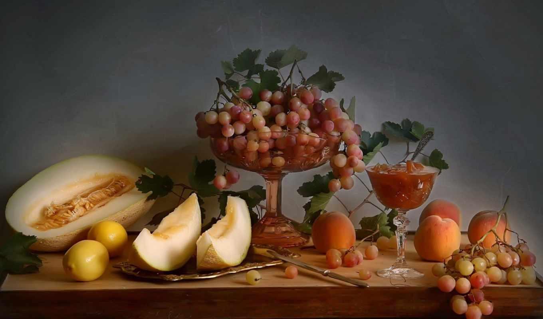 натюрморт, еда, осень, виноград, фруктами, лимоны, rub, ягоды, дизайна,